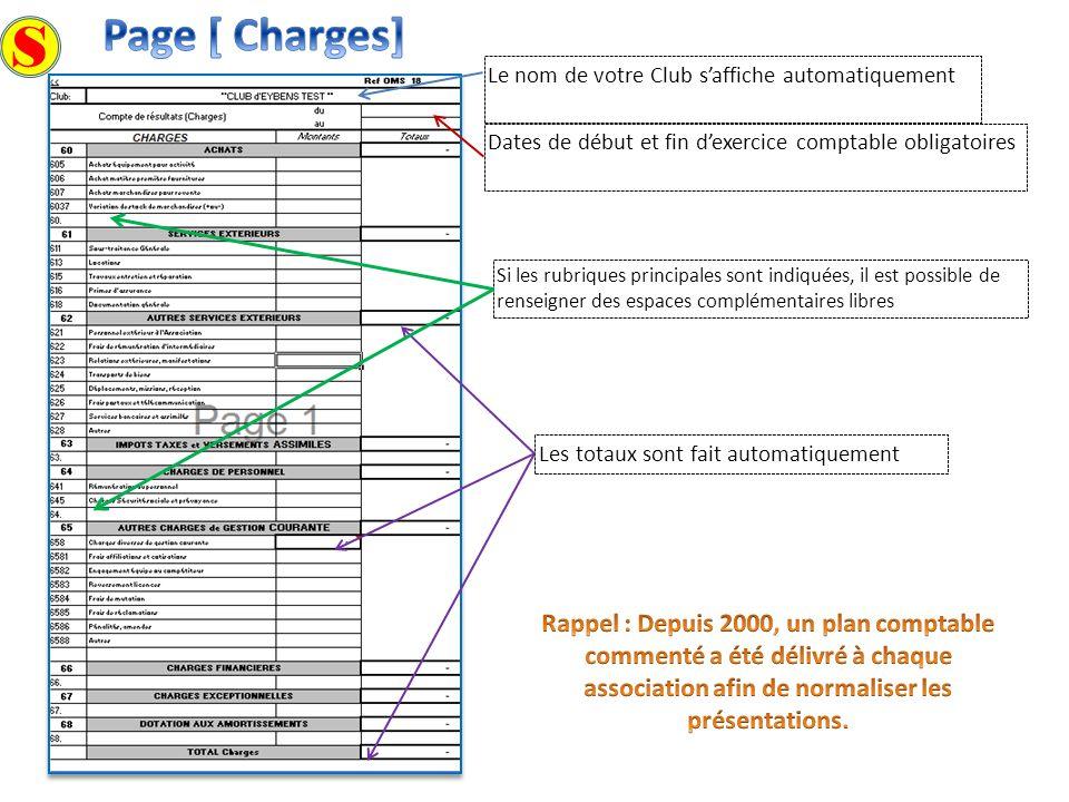 Page [ Charges] S. Le nom de votre Club s'affiche automatiquement. Dates de début et fin d'exercice comptable obligatoires.